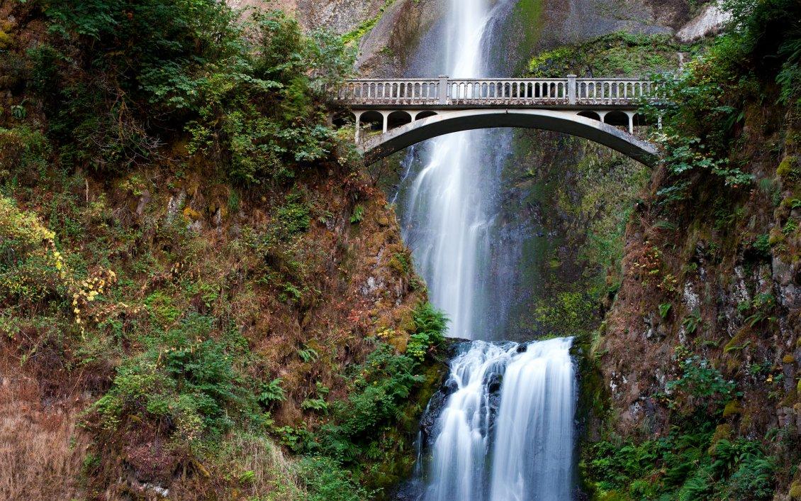 Waterfall Under The Bridge Hd Wallpaper