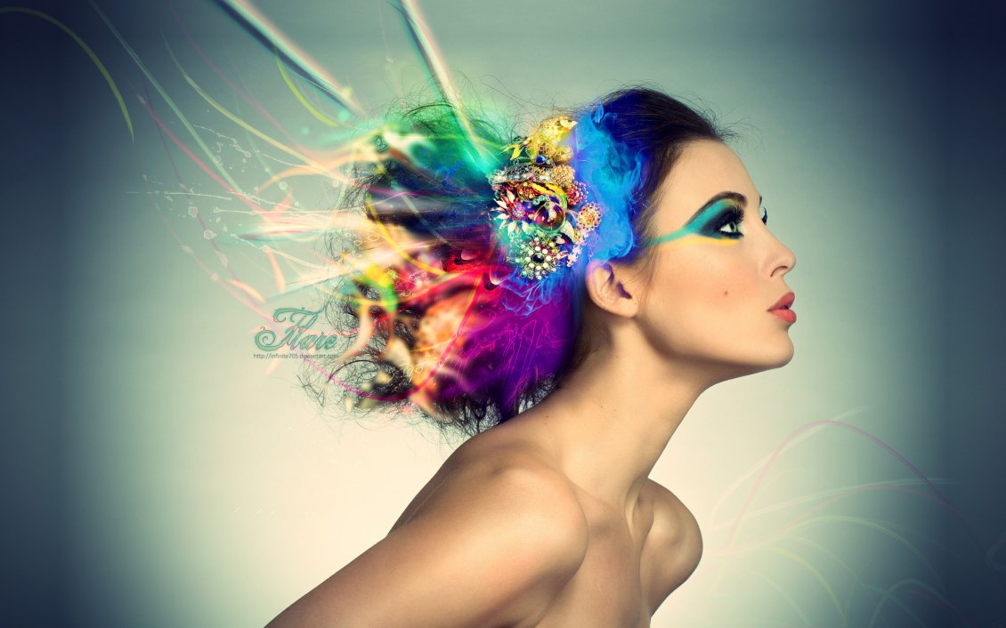 Download Wallpaper Abstract hairstyle - color in the head