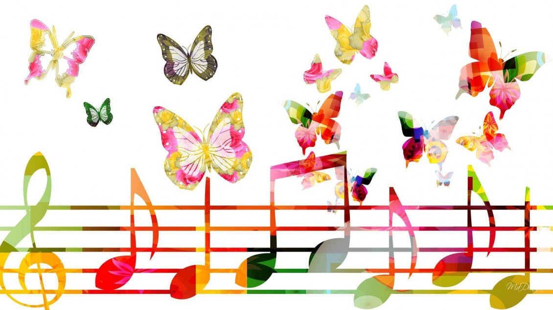 Colorful Music Notes In A Lin Hd Wallpaper Background Images: Musical Notes And Butterflies