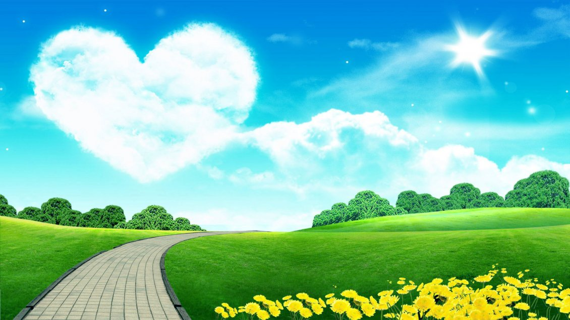Download Wallpaper Big heart on the sky - love the beautiful nature