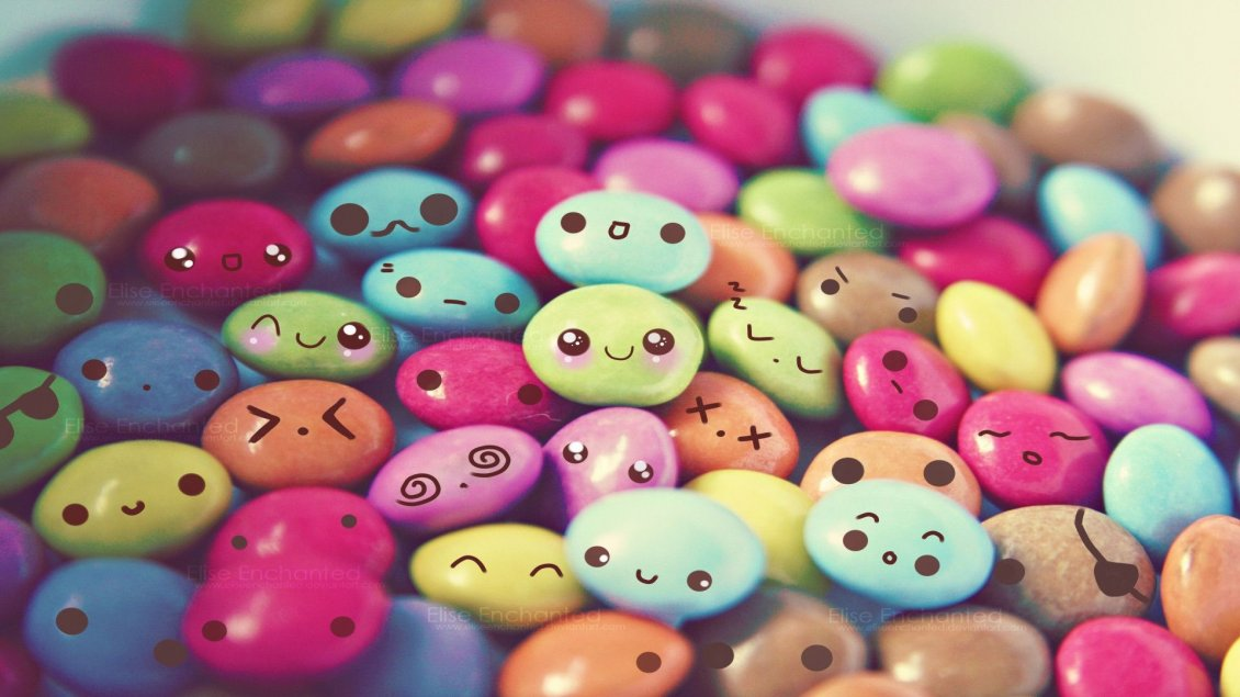 Download Wallpaper Colored chocolate candies - cute and funny faces