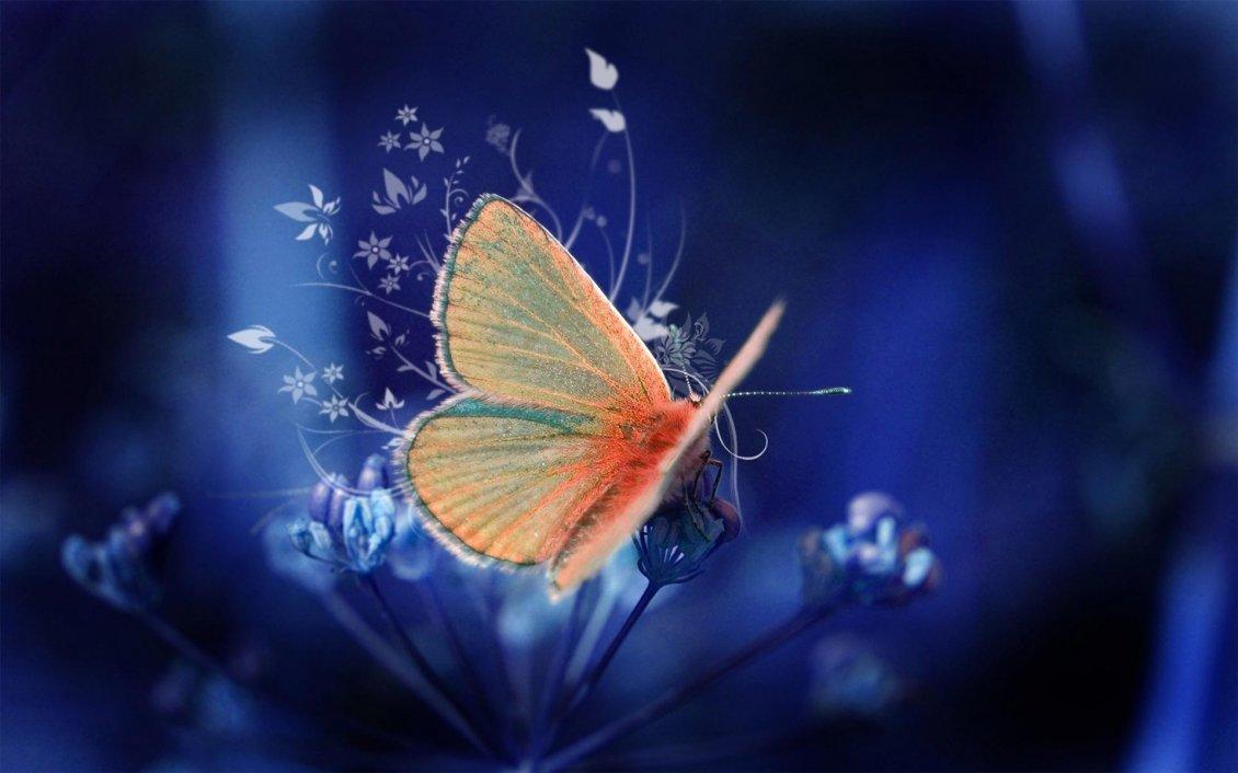 wonderful orange butterfly on a beautiful flower -art design