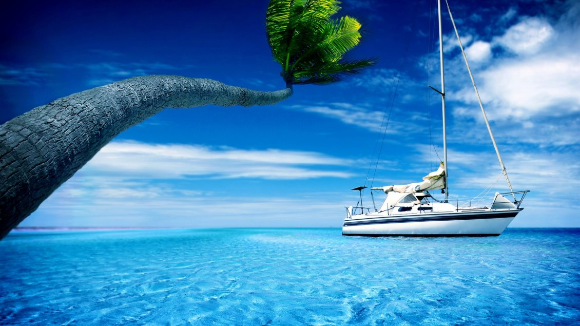 Download Wallpaper White boat in the sea - Hot summer holiday