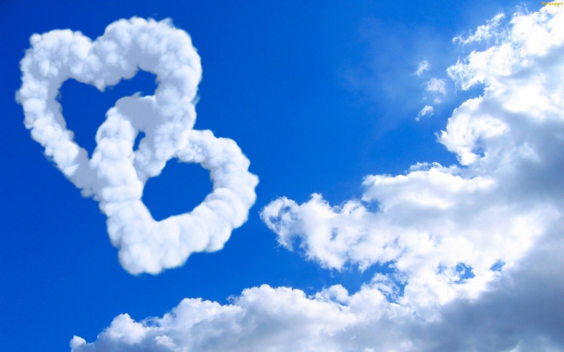 Download Wallpaper True love on the sky - two hearts made from clouds