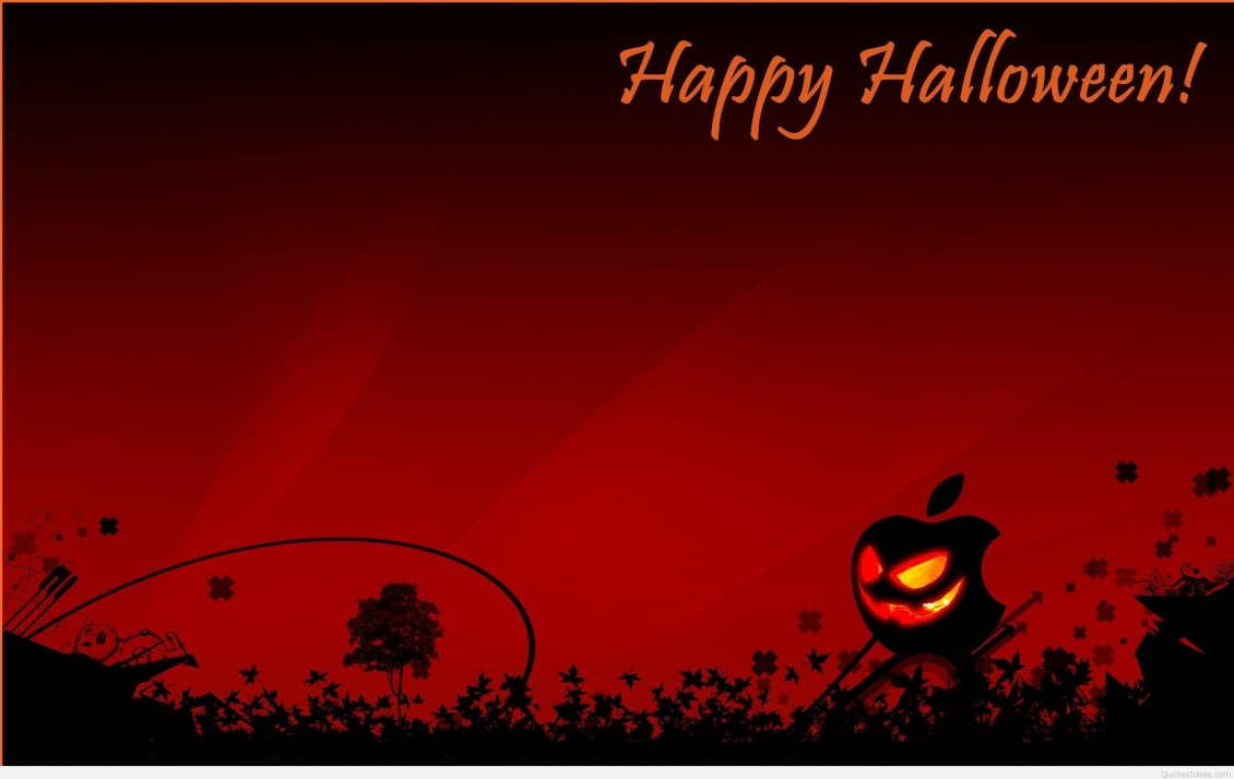 Download Wallpaper Happy Halloween - Pumpkin on fire and red background
