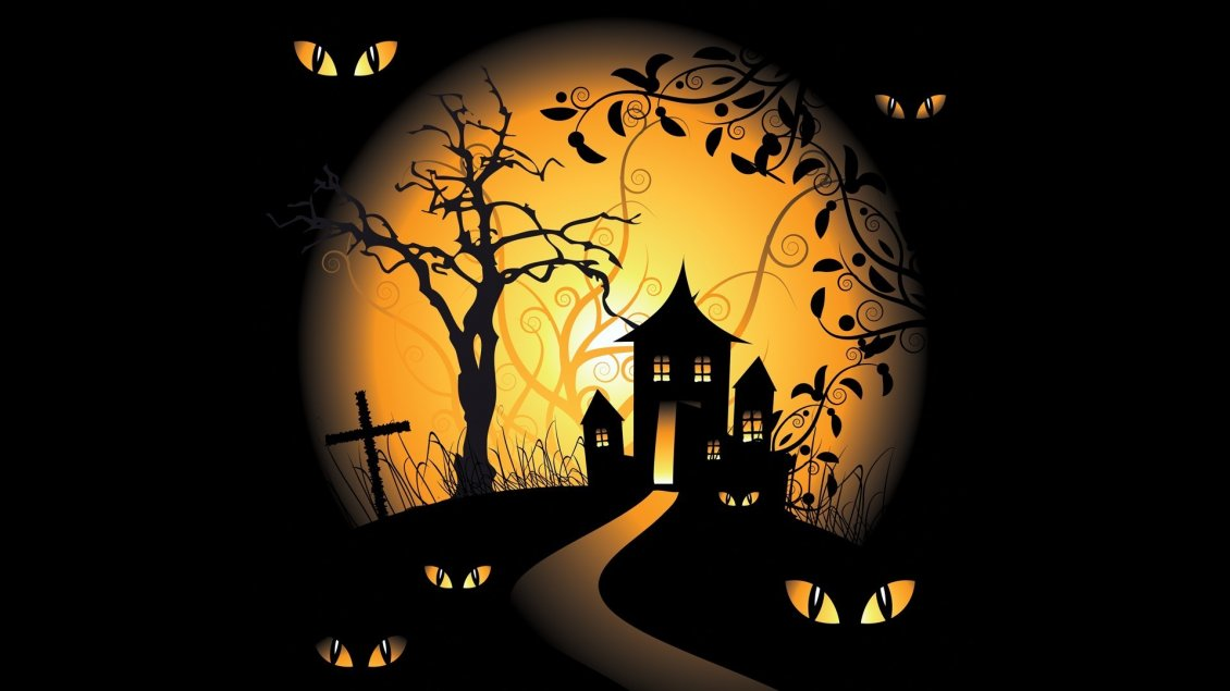 Download Wallpaper Big yellow moon in the dark Halloween night - Cat eyes