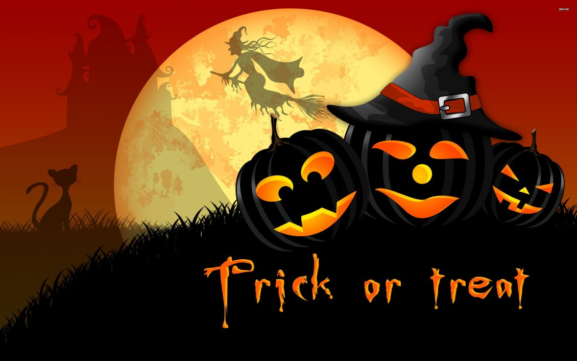 Download Wallpaper Trick or Treat - dark pumpkins and witch on the sky