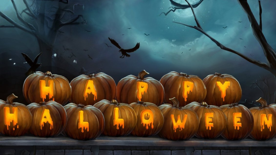 Download Wallpaper Happy Halloween write on pumpkins - HD wallpaper