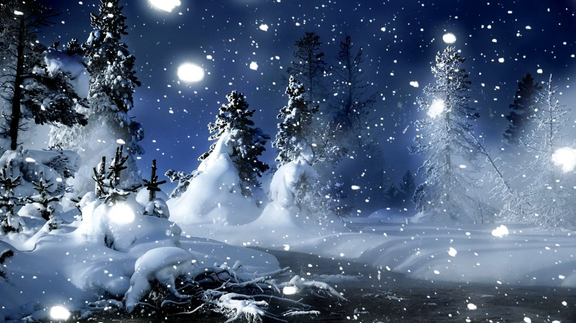 Download Wallpaper Snowing over the nature - wonderful winter night