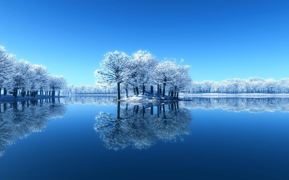 Download Wallpaper Small island full with frozen trees - Mirror in the lake
