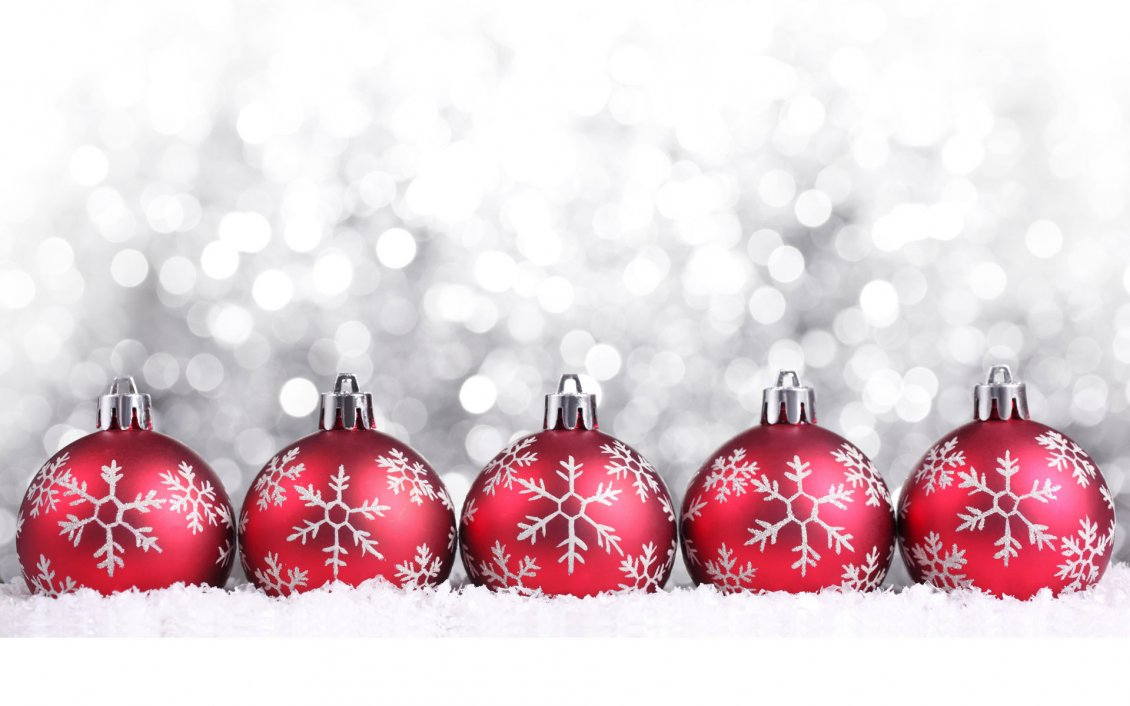 Five Red Christmas Ball On A Silver Background