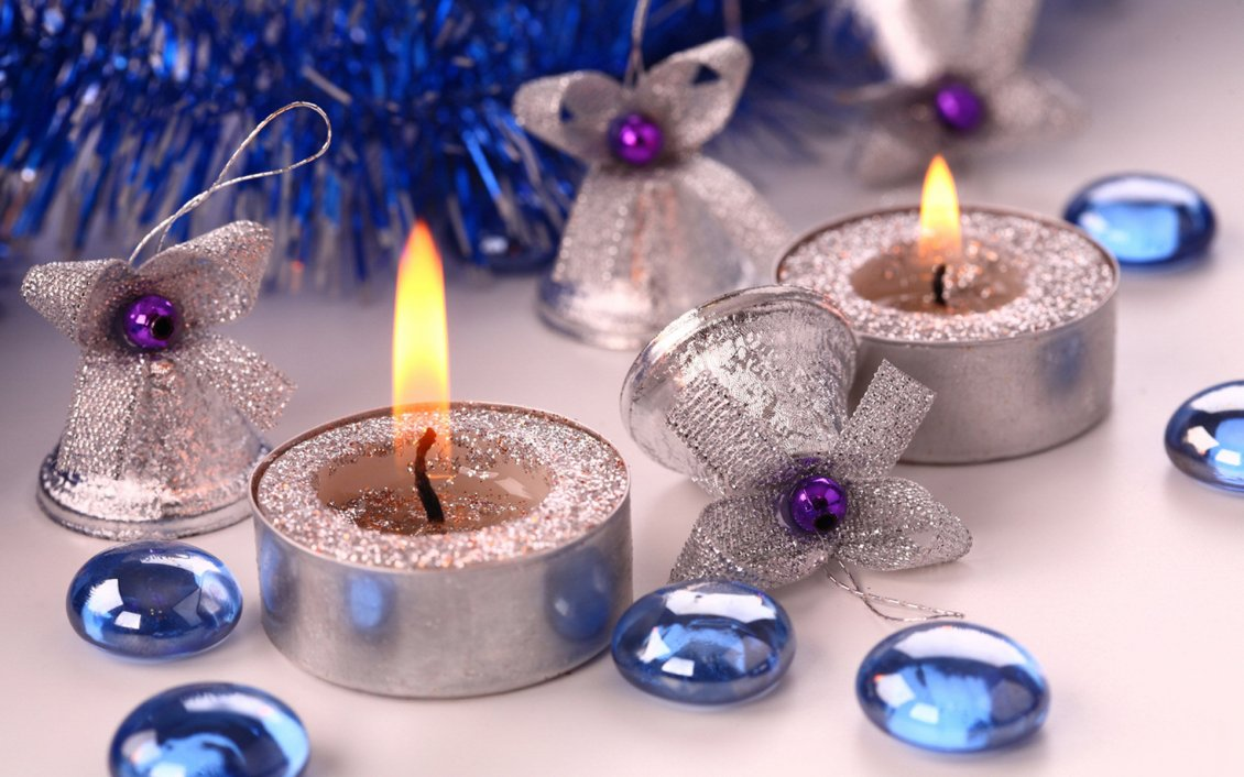 Download Wallpaper Silver Angels and candles - Blue Christmas Holiday