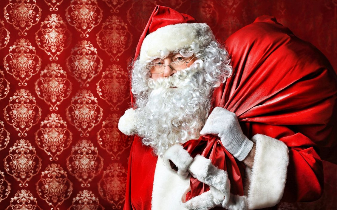 Download Wallpaper Real Santa Claus and the box gift - Christmas night
