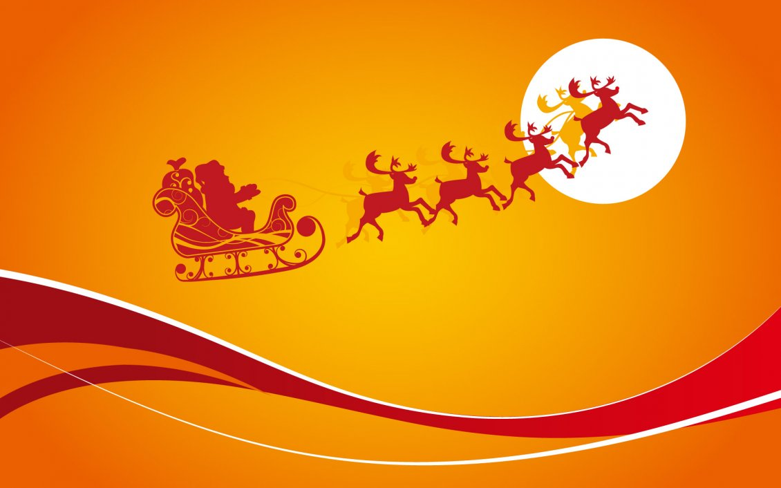 Download Wallpaper Orange Christmas night - Santa Claus and the reindeers