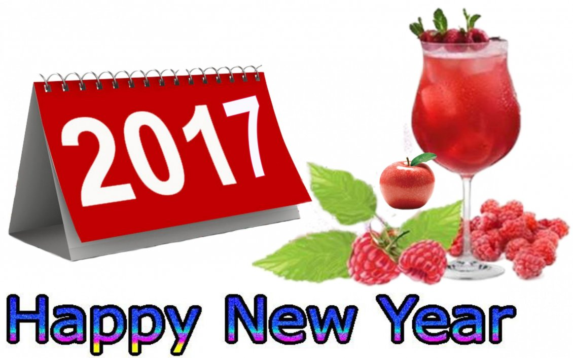 Download Wallpaper Happy New Year 2017 with a glass of raspberry juice