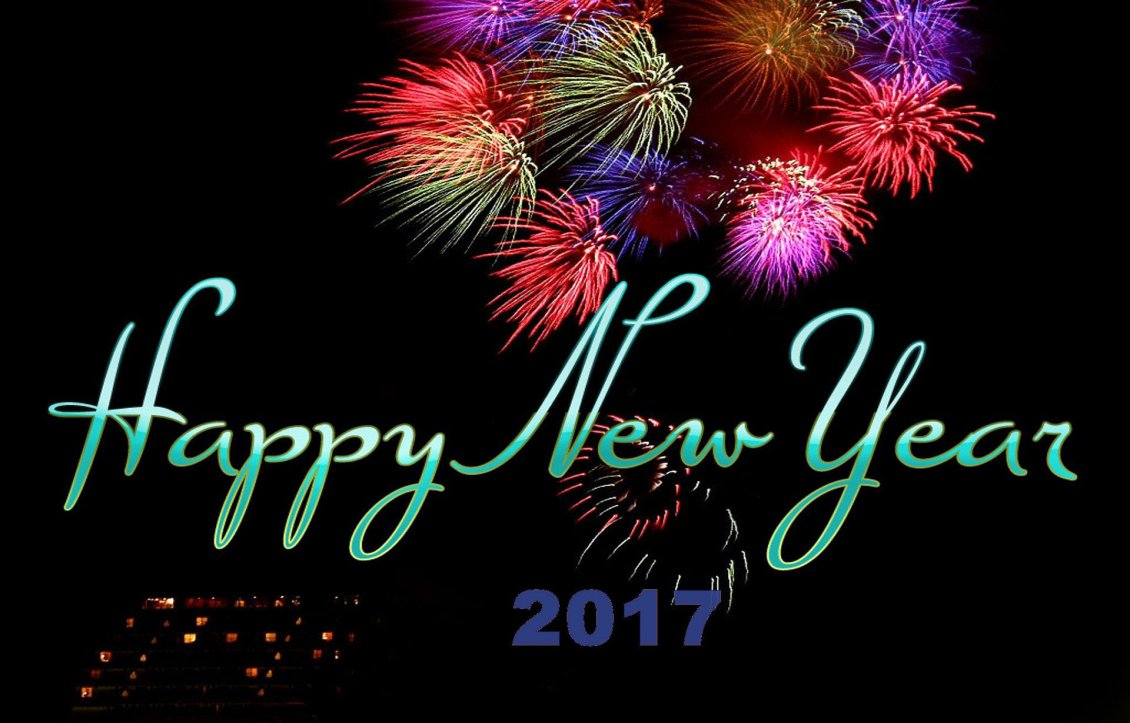 Download Wallpaper Fireworks on the dark sky - Happy New Year 2017