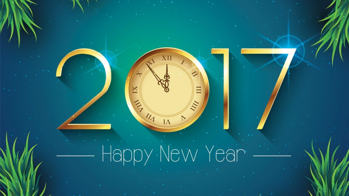 Download Wallpaper Twelve o'clock at midnight - Happy New Year 2017