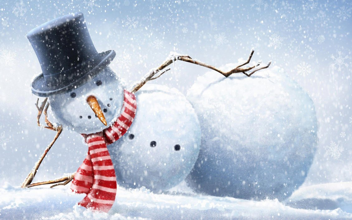Download Wallpaper Funny snowman on the winter beach