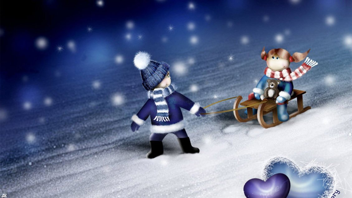 Download Wallpaper Funny winter sports - Children on the sleighing