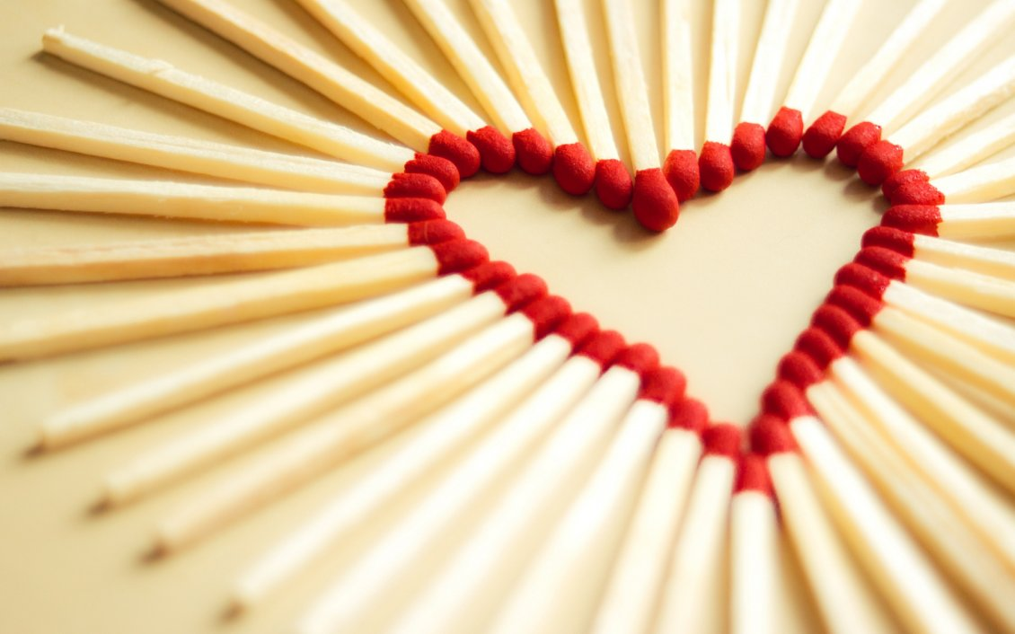 Download Wallpaper Red heart made from matches - Happy Valentines Day