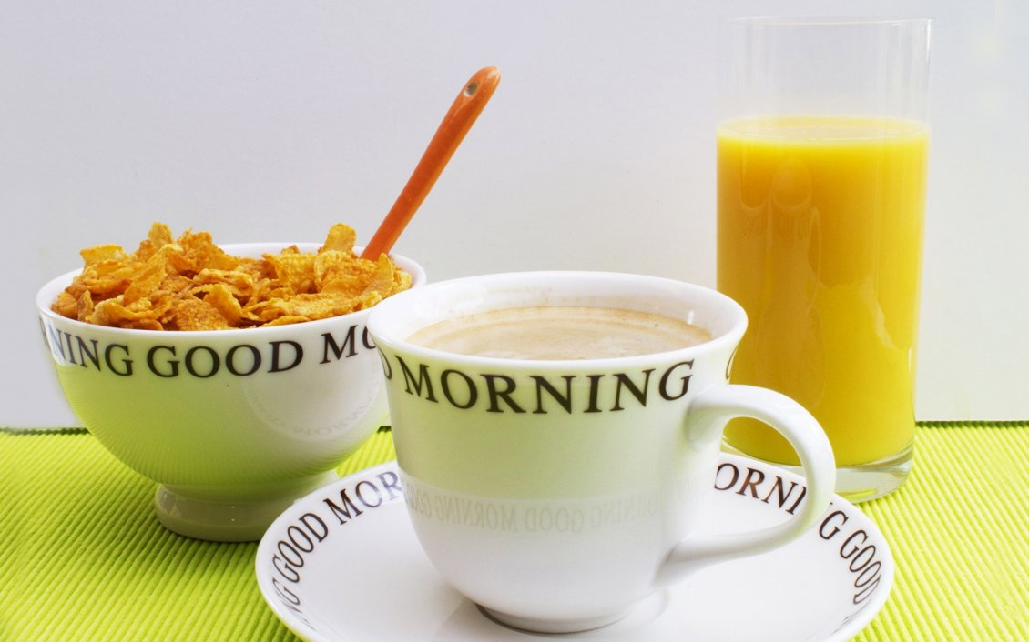 Download Wallpaper Good morning fresh breakfast - coffee juice and cereals