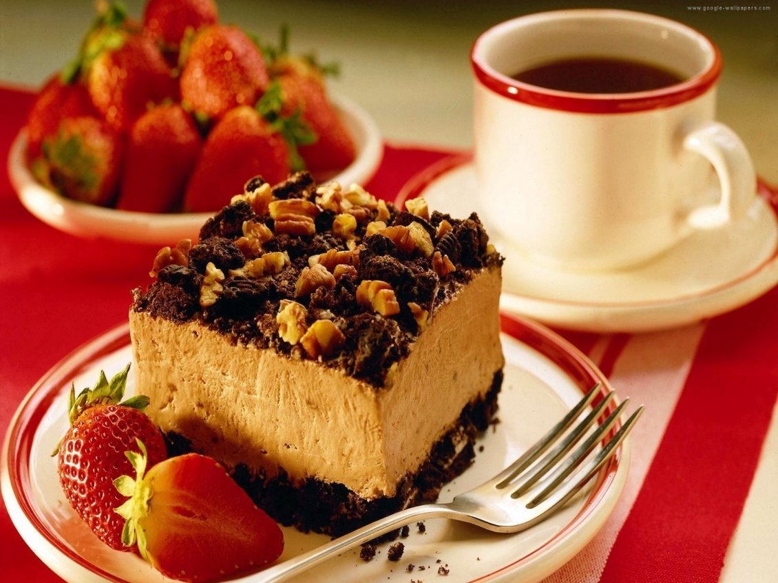 Download Wallpaper Sweet piece of cake in the morning - Coffee time