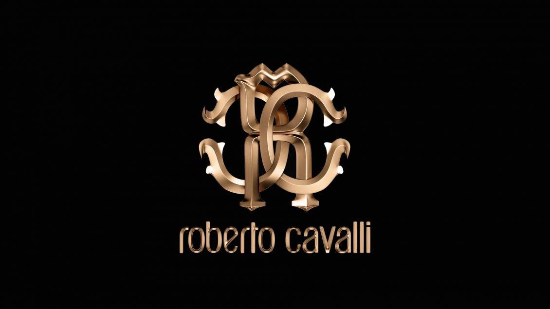 Luxury Roberto Cavalli Brand - Gold logo on the wallpaper
