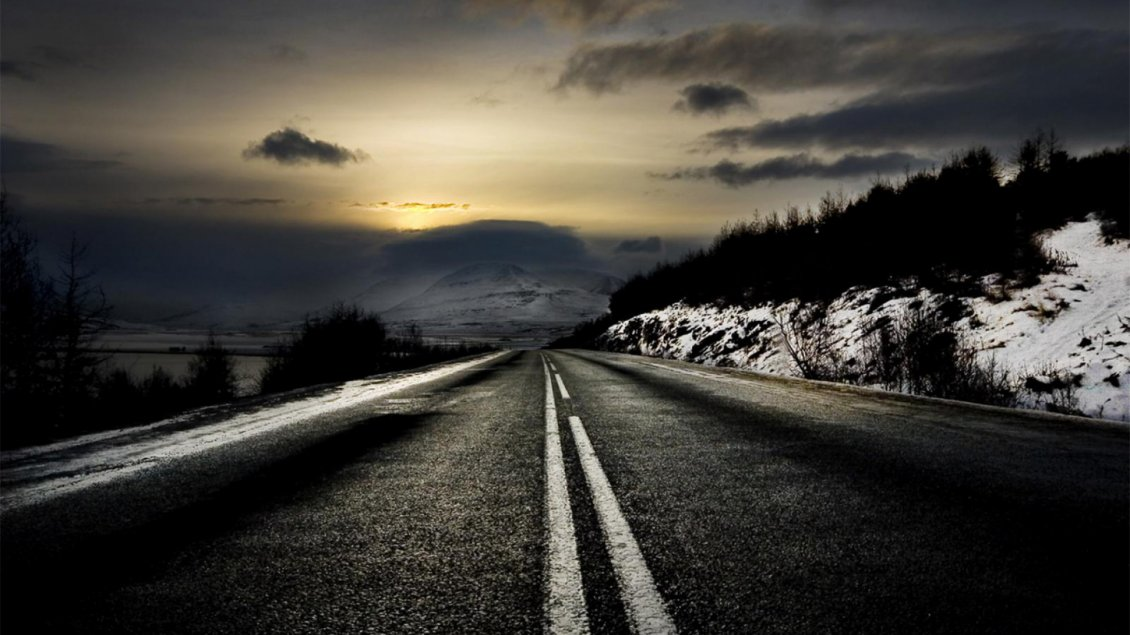 Black Night And Dark Road In Winter Season