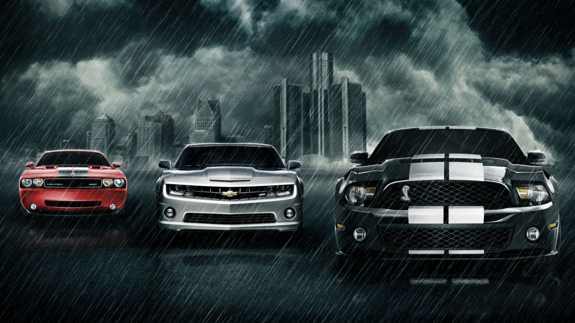Download Wallpaper Three wonderful cars in the rain - creative wallpaper