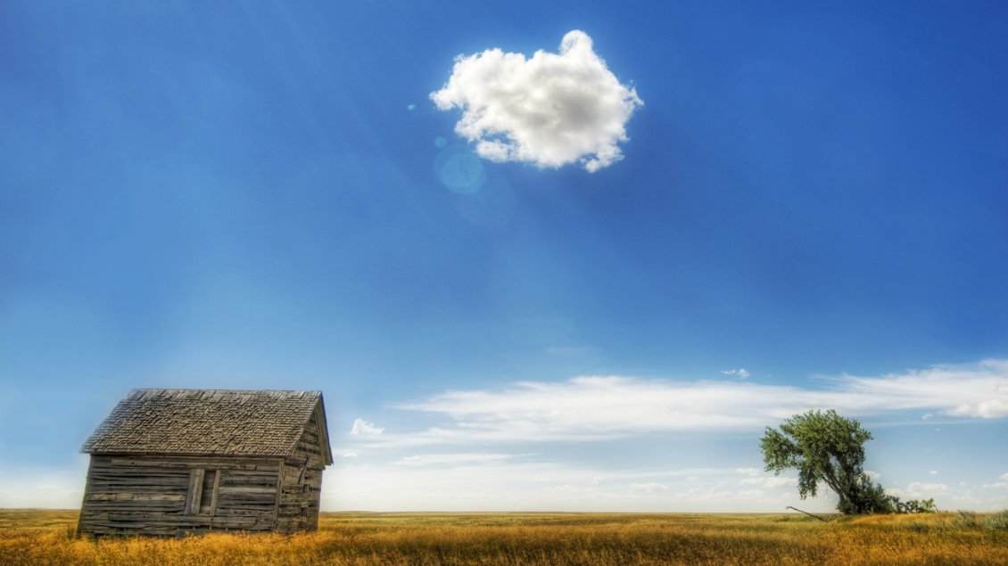 Download Wallpaper Hot sunshine over the wooden cottage - One fluffy cloud