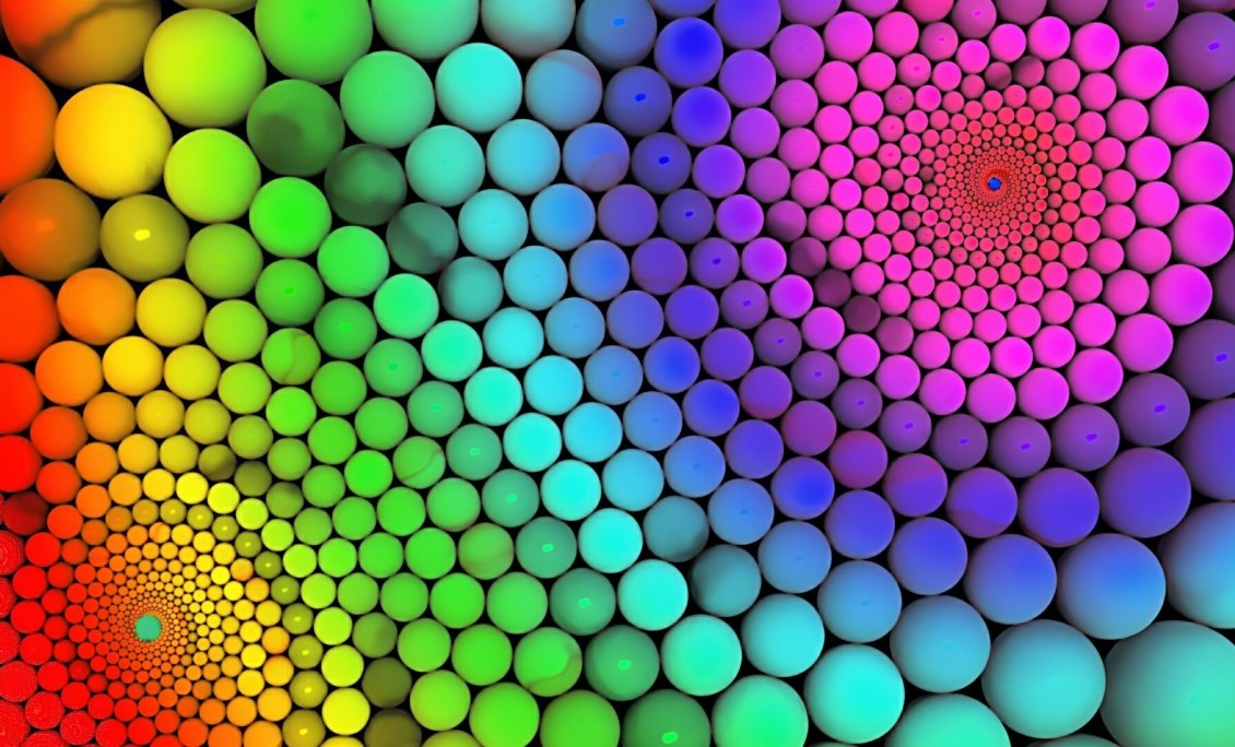 Millions of colorful balls rainbow on the wall for Colourful wallpaper for walls
