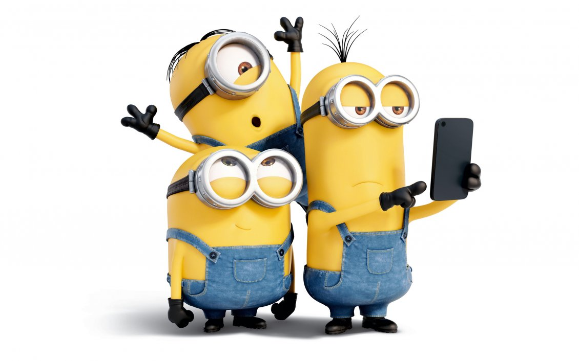 Download Wallpaper Three crazy minions make a selfie - Funny cartoon characters