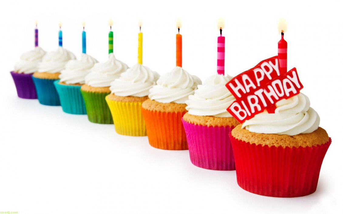 Download Wallpaper Delicious colored muffins - Happy Birthday kids
