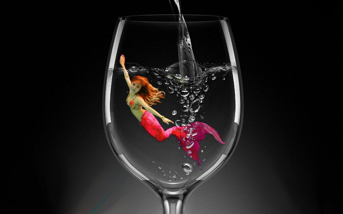 Download Wallpaper Red Mermaid in a glass of water - HD wallpaper