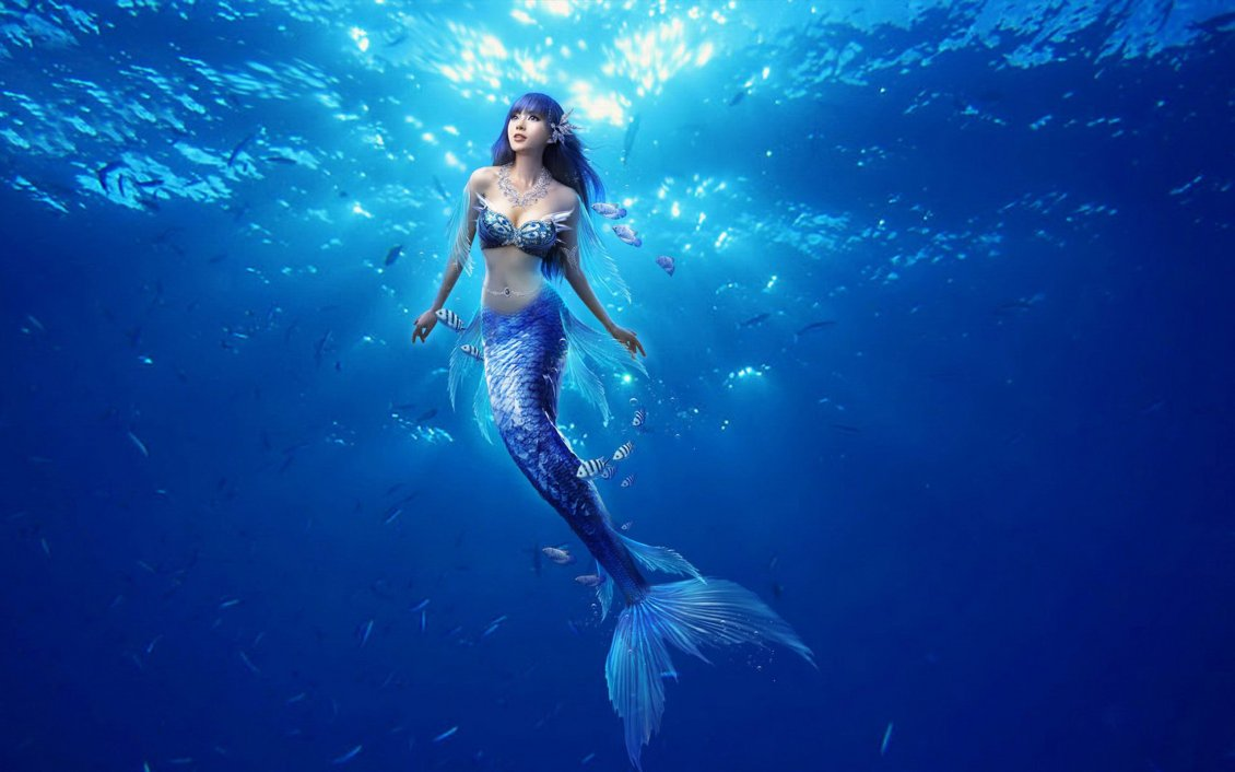 Download Wallpaper Beautiful blue mermaid in the middle of the ocean water