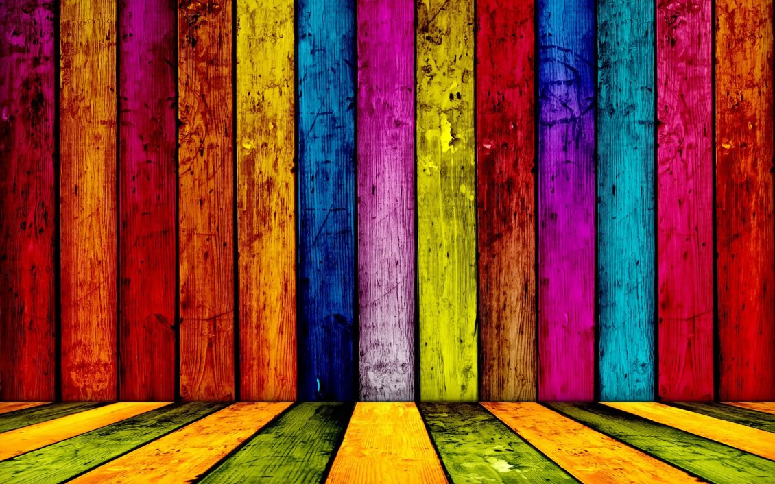 Download Wallpaper Colorful wood wall - Funny wallpaper