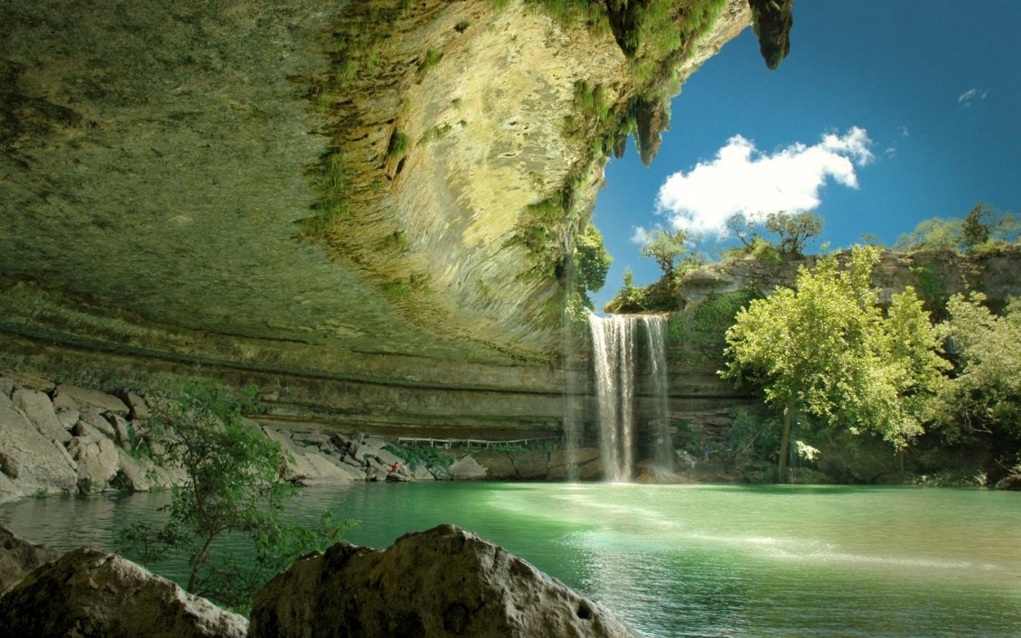 Download Wallpaper Small but gorgeous waterfall - HD wallpaper