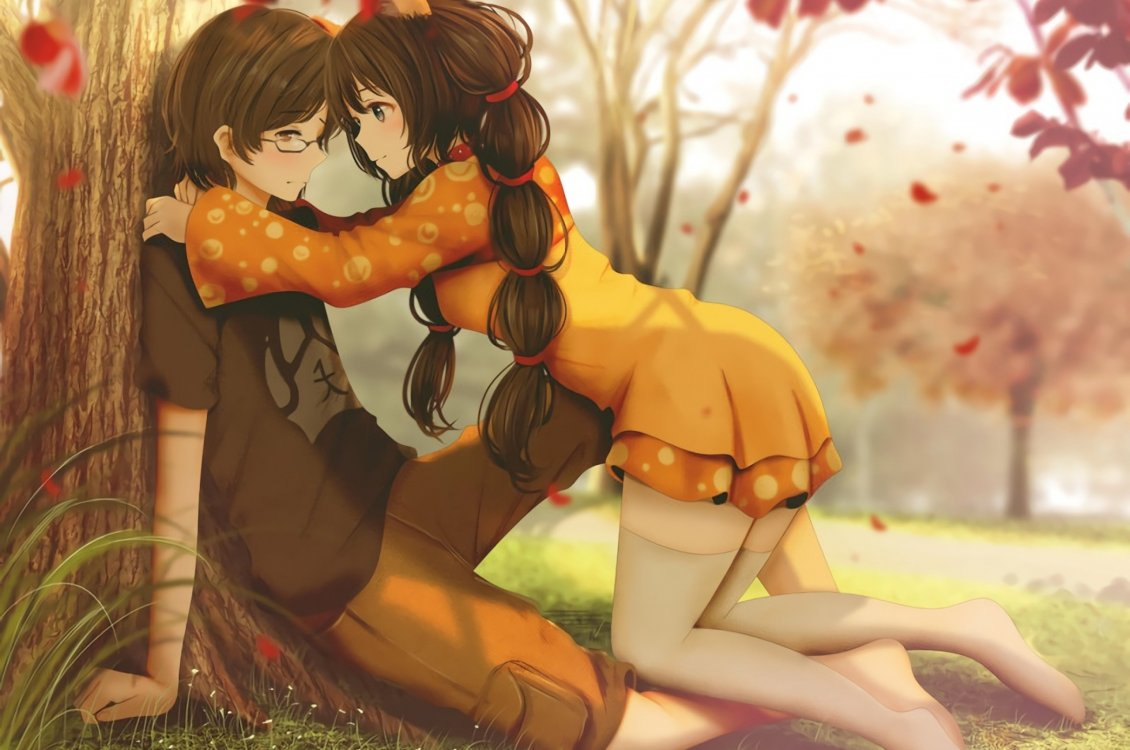 Anime Romance In The Park Autumn Season