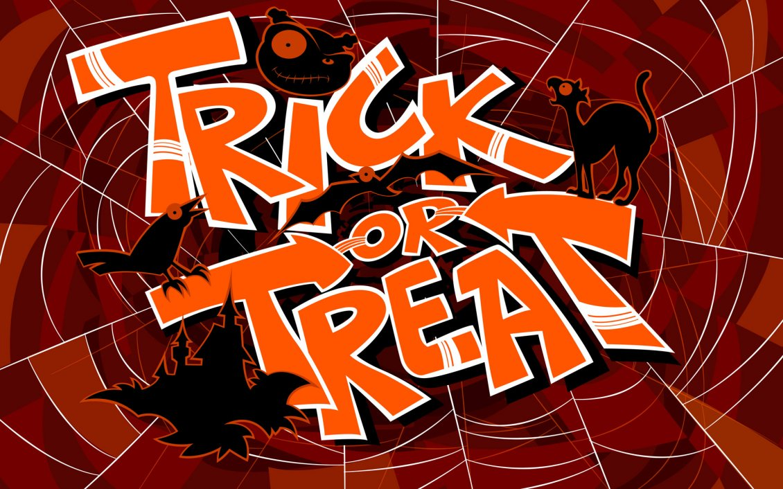 Download Wallpaper Trick or Treat on a spider-web - Happy Halloween night