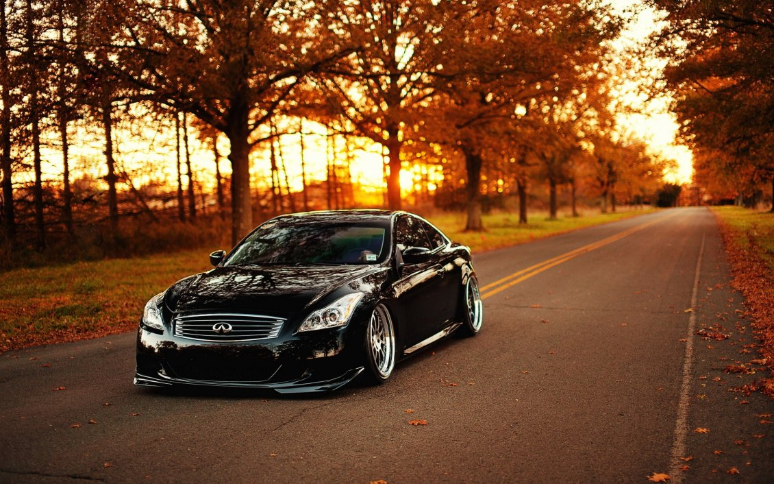 Download Wallpaper Beautiful Infinity black car on the road - Autumn season