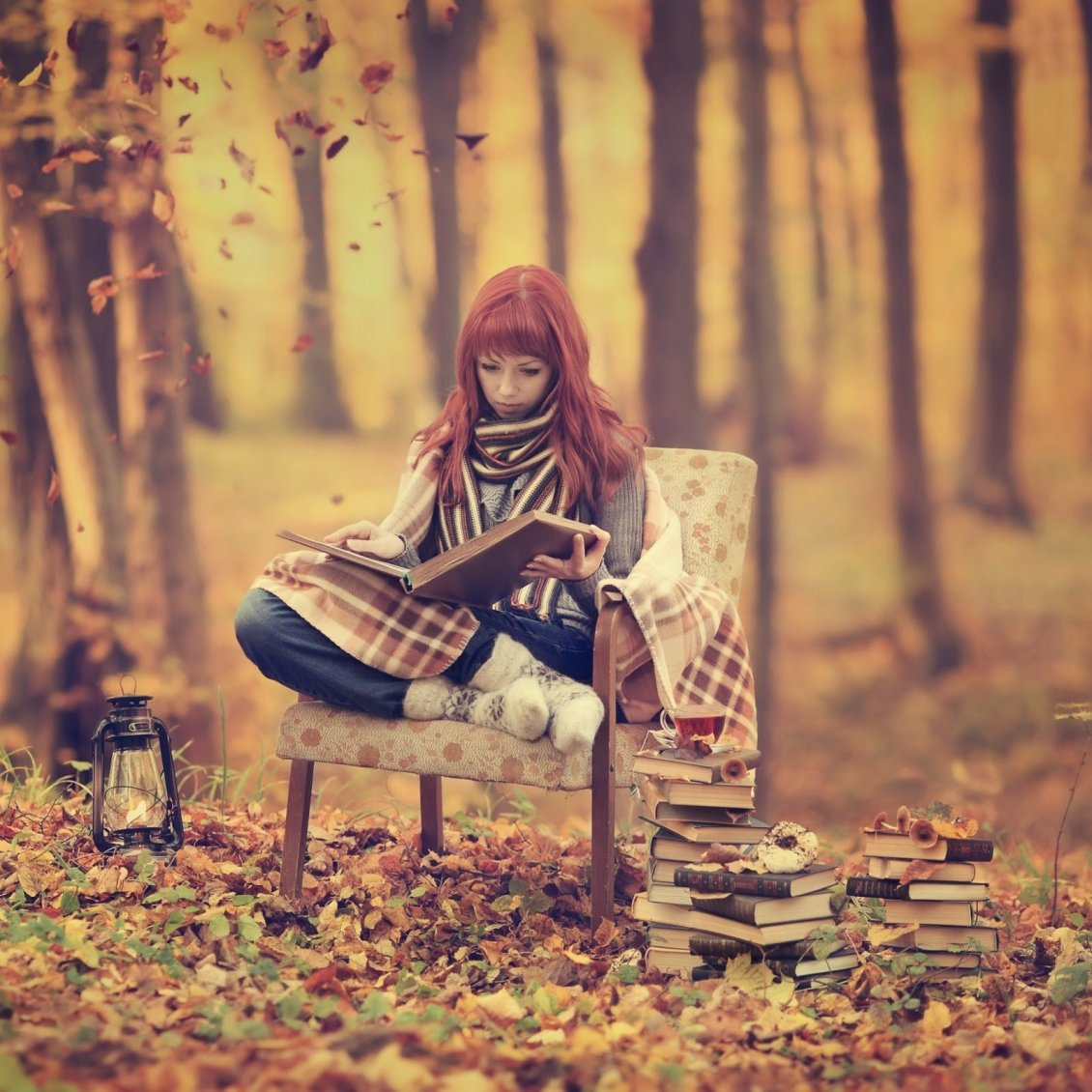 Download Wallpaper Relaxing time in the forest reading books - HD wallpaper