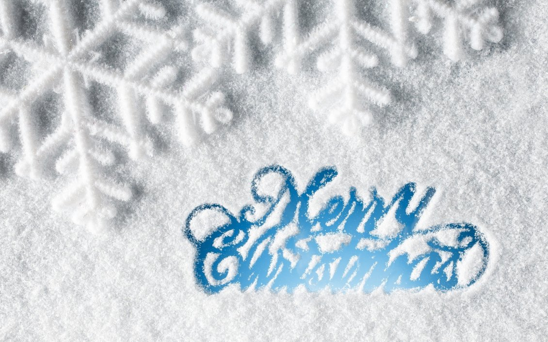Download Wallpaper Merry Christmas - Message with snow on the window