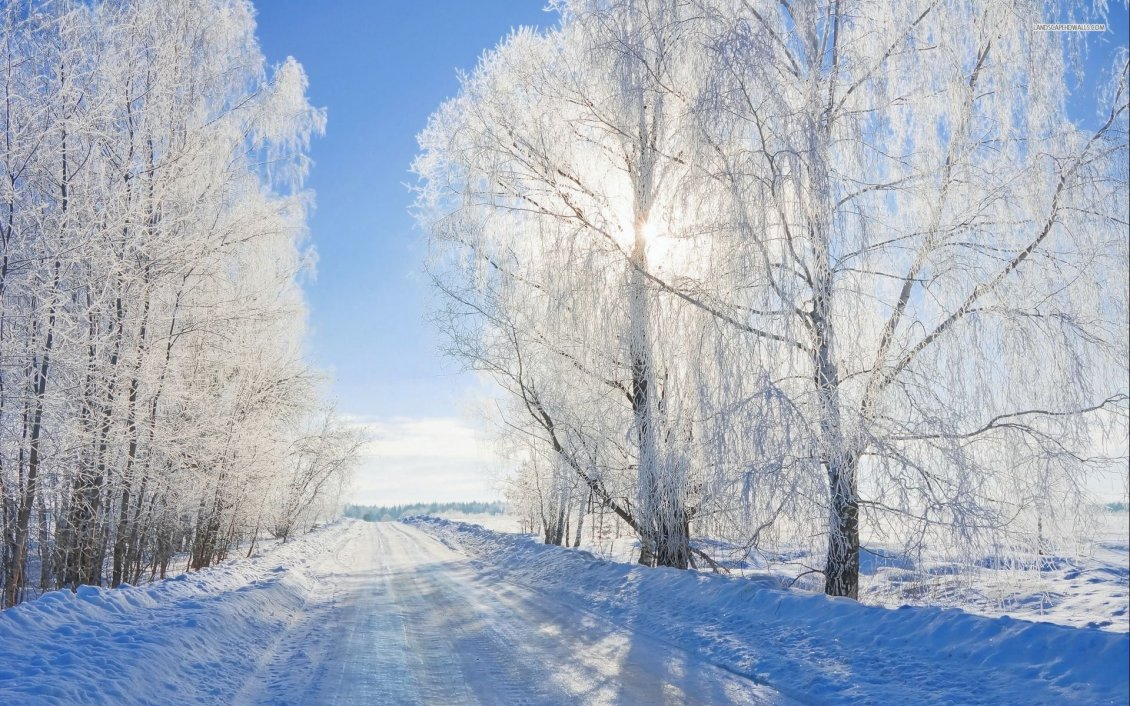 Download Wallpaper Sunny winter day - White snow on the road