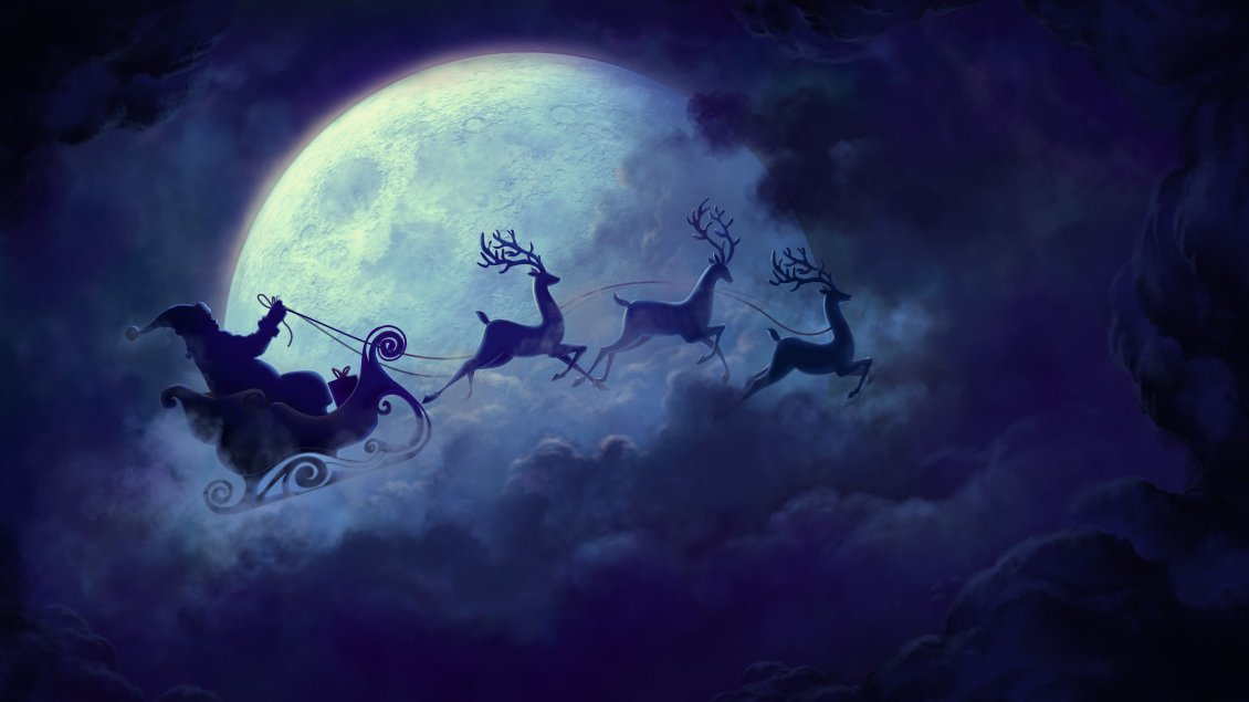 Download Wallpaper Santa Claus flying on the sky with the deers -Christmas time