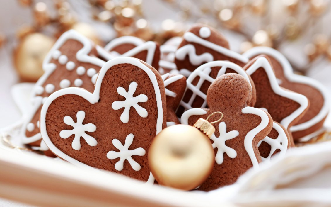 Download Wallpaper Heart and ginger - Happy Christmas holiday with candies