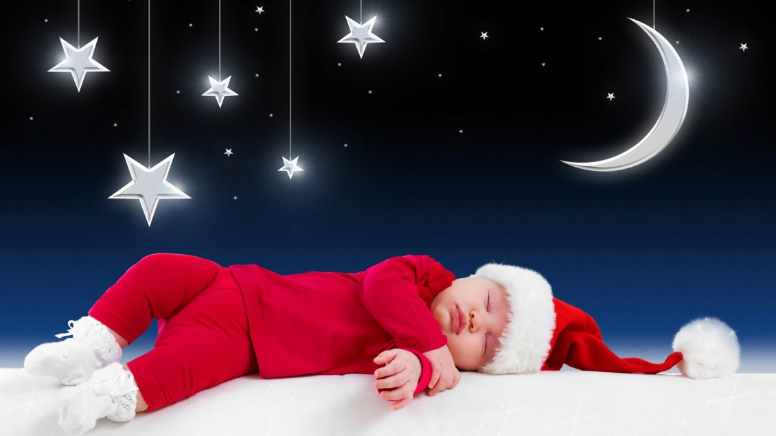 Download Wallpaper Small kid sleep and waiting for Santa Claus - Stars and moon
