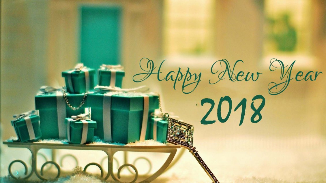 Download Wallpaper Green boxes with presents for a new beginning - Happy 2018