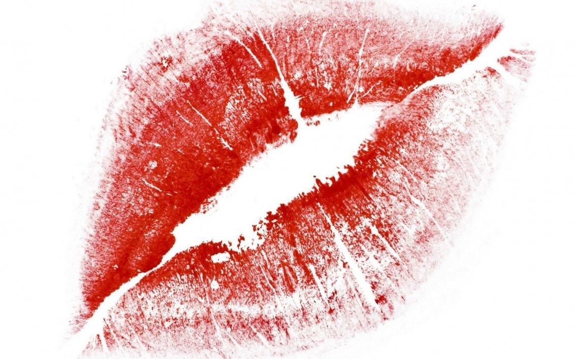 Download Wallpaper Red lips on a piece of paper-Special gift for Valentines Day
