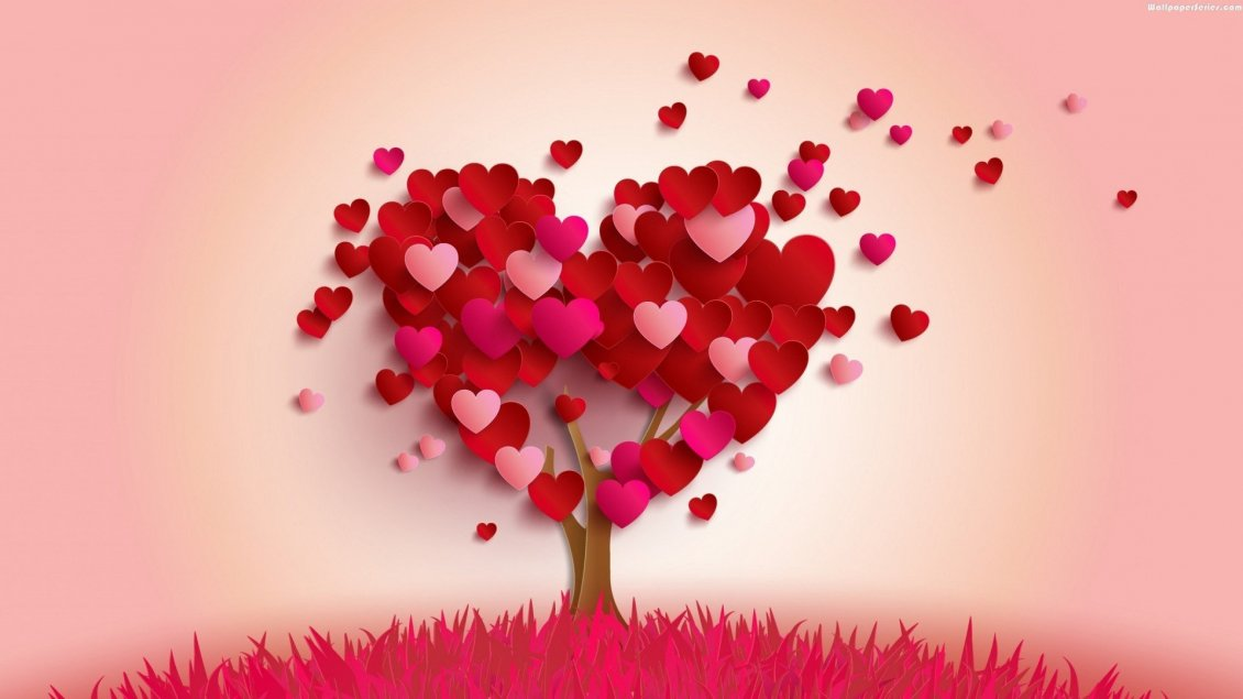 Download Wallpaper The tree of pure love made from hearts - Valentines Day