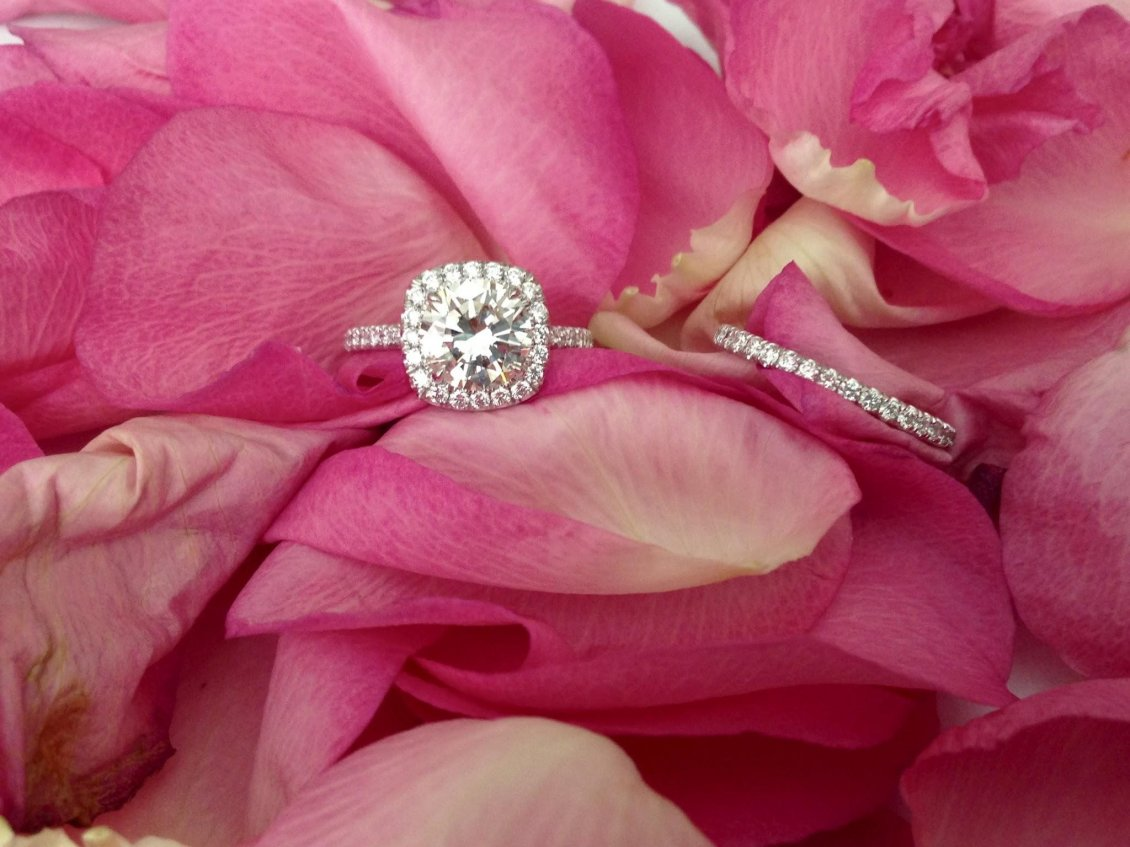 Silver Ring And Pink Rose Petals Happy Valentines Day